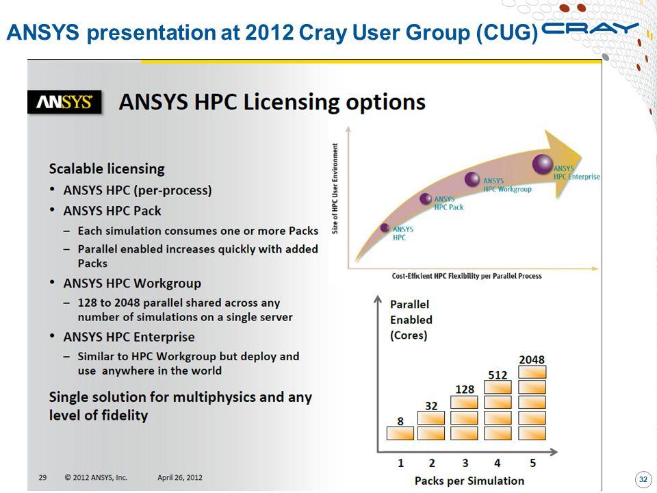 ANSYS presentation at 2012 Cray User Group (CUG) 32