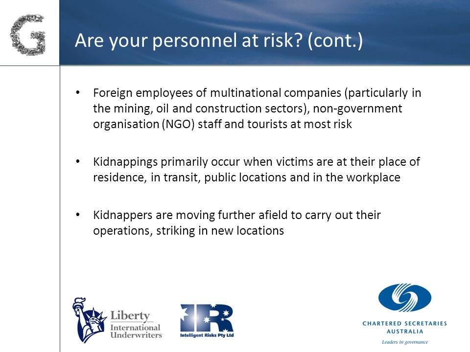 Are your personnel at risk.