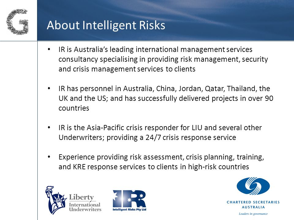 Emerging Australian business opportunities There are increasingly strong imperatives for Australian companies to operate in medium to high risk environments.