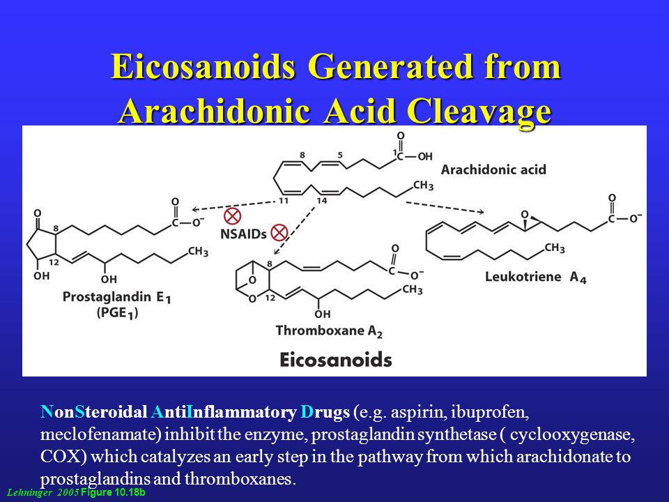 Eicosanoids Generated from Arachidonic Acid Cleavage Lehninger 2005 Figure 10.18b NonSteroidal AntiInflammatory Drugs (e.g.