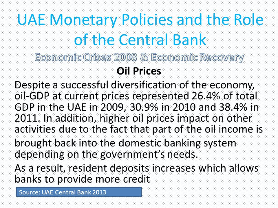 UAE Monetary Policies and the Role of the Central Bank Source: UAE Central Bank 2013