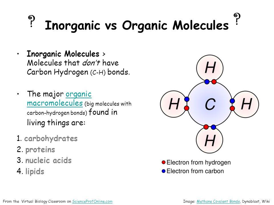 Inorganic vs Organic Molecules Inorganic Molecules > Molecules that don't have Carbon Hydrogen (C-H) bonds.
