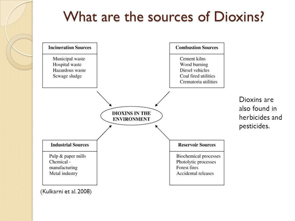 What are the sources of Dioxins? (Kulkarni et al. 2008) Dioxins are also found in herbicides and pesticides.