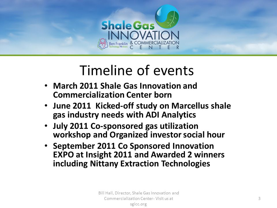 Timeline of events March 2011 Shale Gas Innovation and Commercialization Center born June 2011 Kicked-off study on Marcellus shale gas industry needs