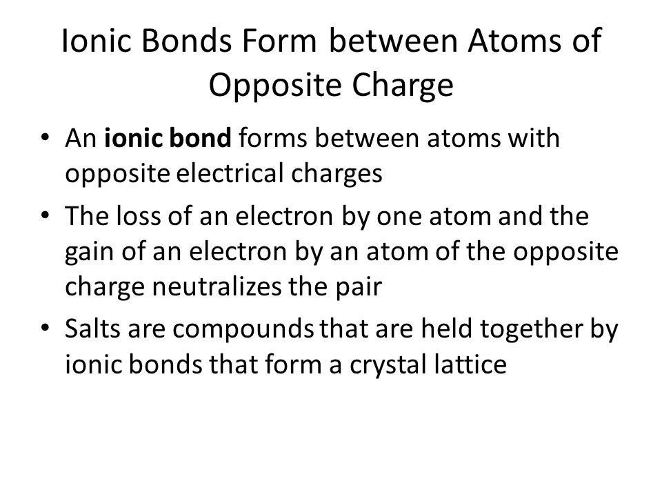 Ionic Bonds Form between Atoms of Opposite Charge An ionic bond forms between atoms with opposite electrical charges The loss of an electron by one atom and the gain of an electron by an atom of the opposite charge neutralizes the pair Salts are compounds that are held together by ionic bonds that form a crystal lattice