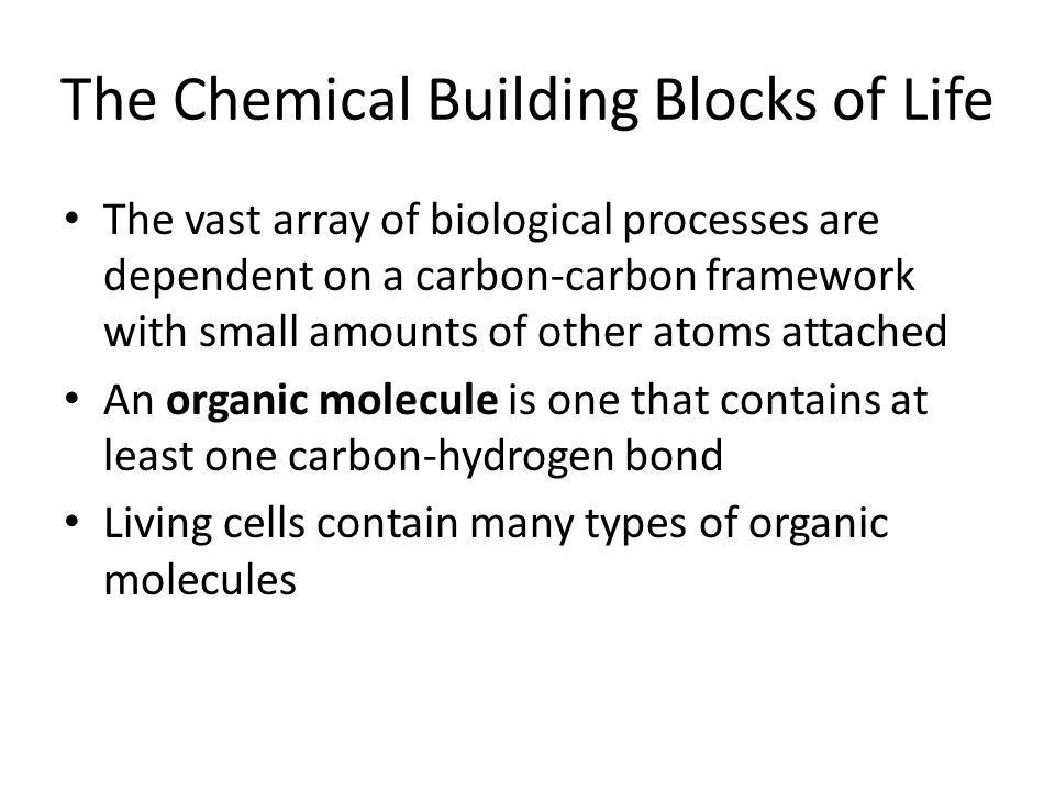 The Chemical Building Blocks of Life The vast array of biological processes are dependent on a carbon-carbon framework with small amounts of other ato