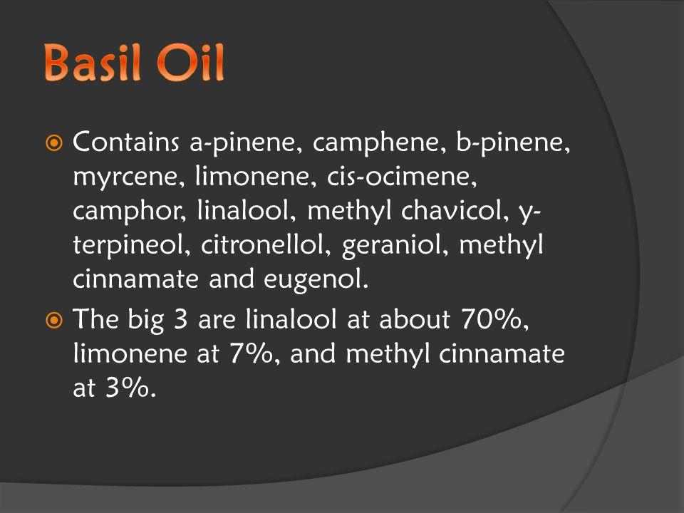  Contains a-pinene, camphene, b-pinene, myrcene, limonene, cis-ocimene, camphor, linalool, methyl chavicol, y- terpineol, citronellol, geraniol, methyl cinnamate and eugenol.