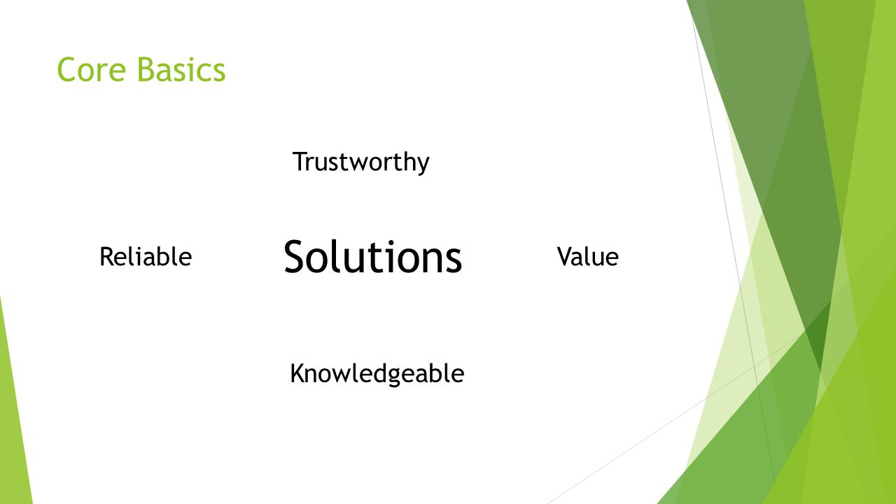 Core Basics Trustworthy Knowledgeable ReliableValue Solutions
