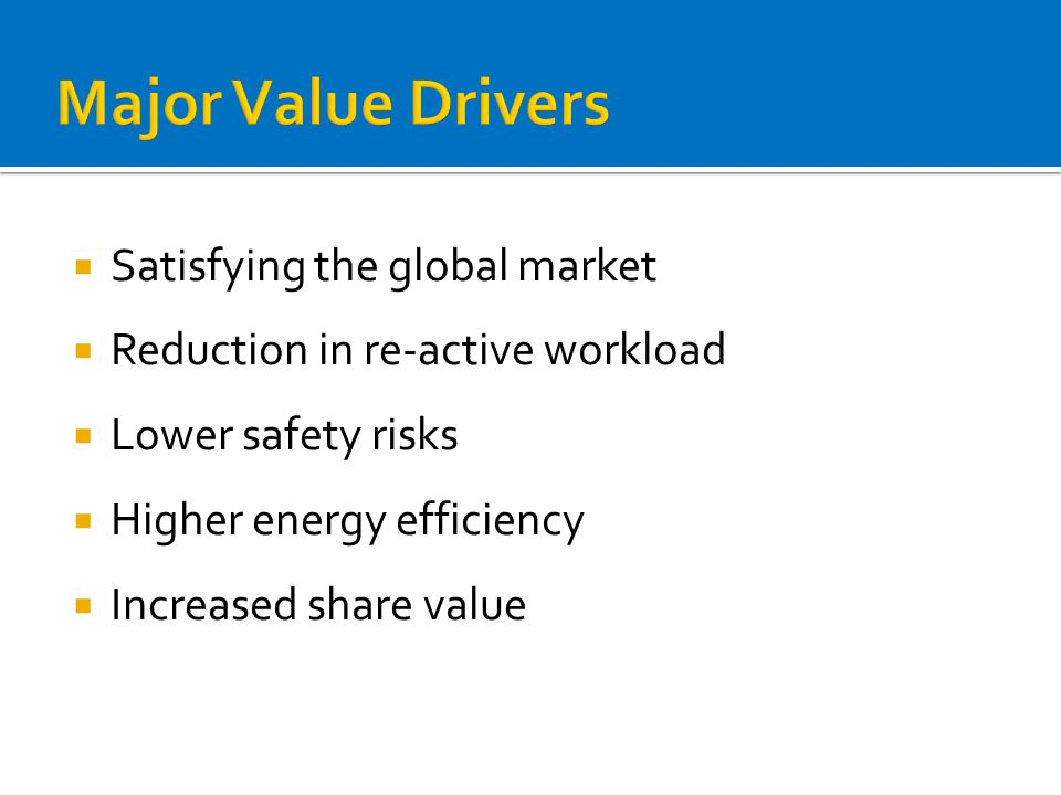  Satisfying the global market  Reduction in re-active workload  Lower safety risks  Higher energy efficiency  Increased share value