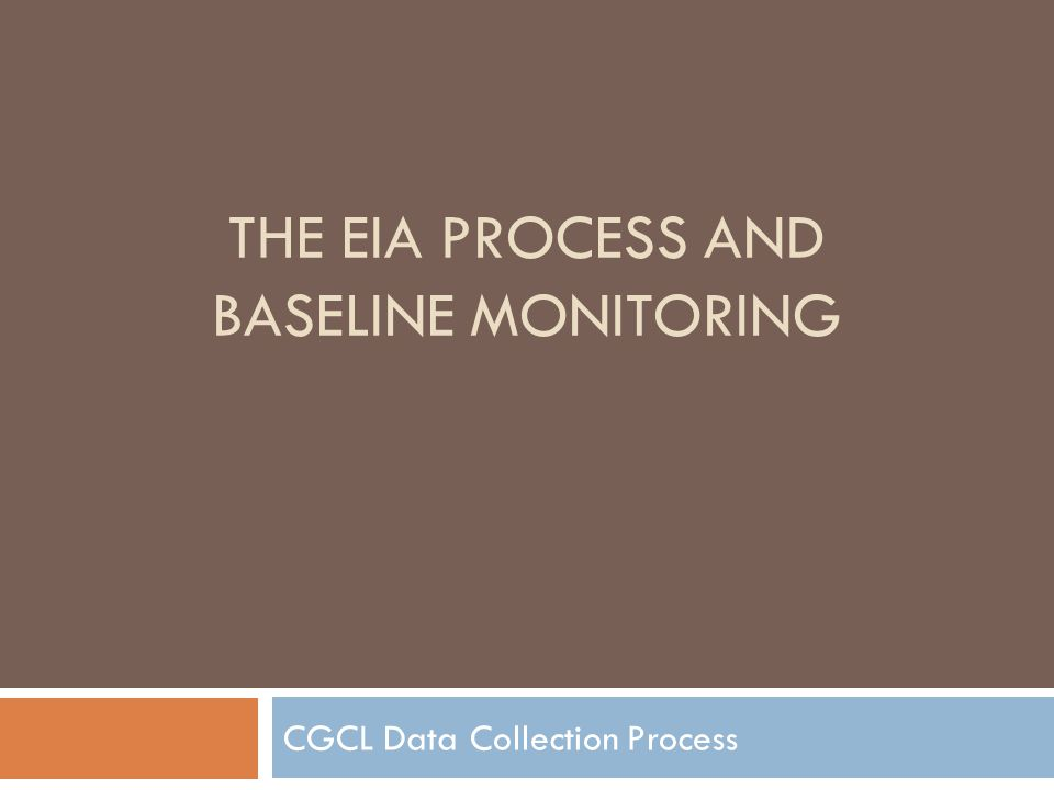 THE EIA PROCESS AND BASELINE MONITORING CGCL Data Collection Process