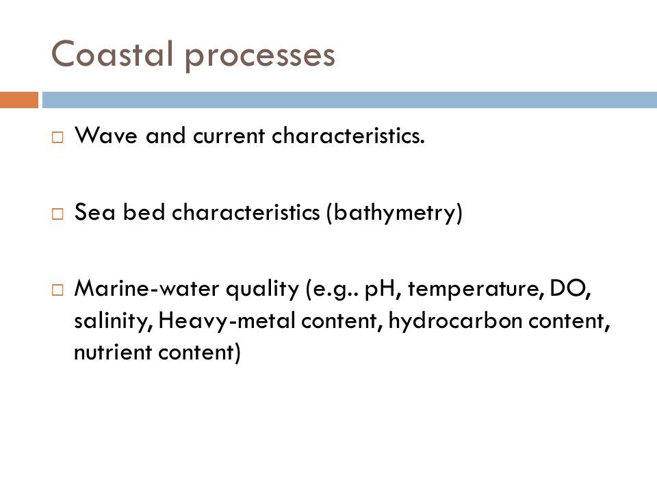 Coastal processes  Wave and current characteristics.