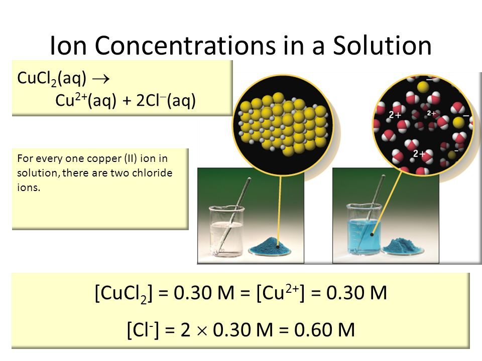 [CuCl 2 ] = 0.30 M = [Cu 2+ ] = 0.30 M [Cl - ] = 2  0.30 M = 0.60 M CuCl 2 (aq)  Cu 2+ (aq) + 2Cl  (aq) For every one copper (II) ion in solution, there are two chloride ions.