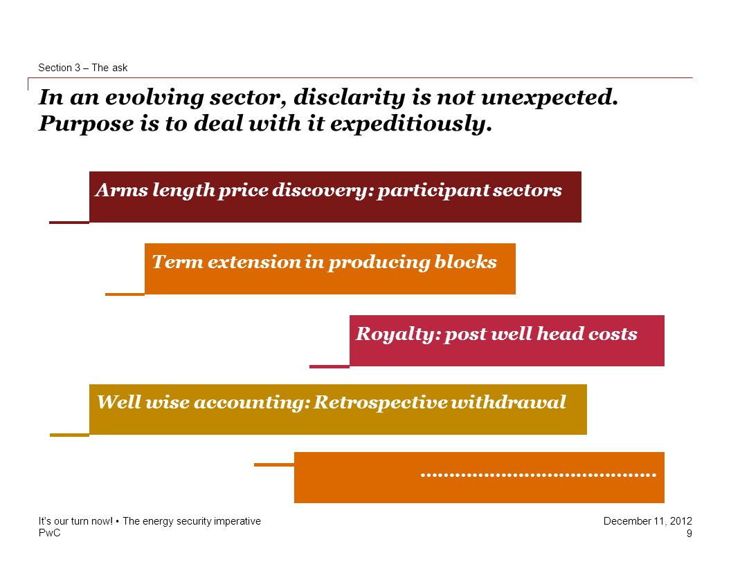 PwC December 11, 2012 In an evolving sector, disclarity is not unexpected.