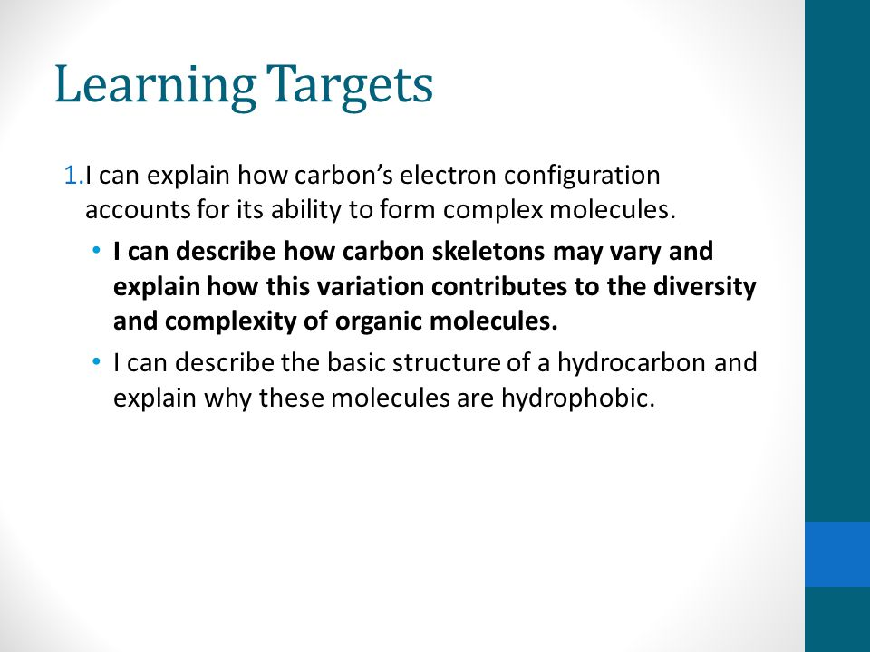 Learning Targets 1.I can explain how carbon's electron configuration accounts for its ability to form complex molecules.