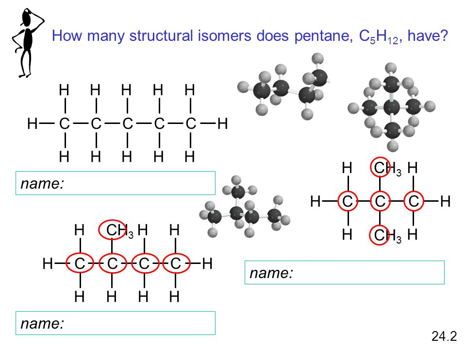 How many structural isomers does pentane, C 5 H 12, have.