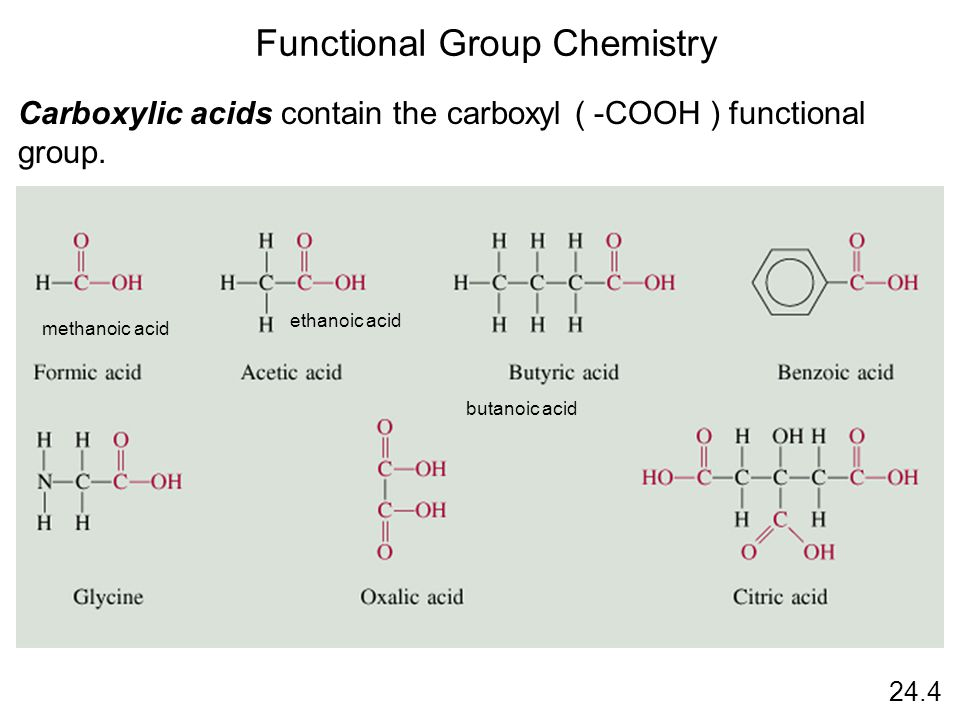 24.4 Functional Group Chemistry Carboxylic acids contain the carboxyl ( -COOH ) functional group.