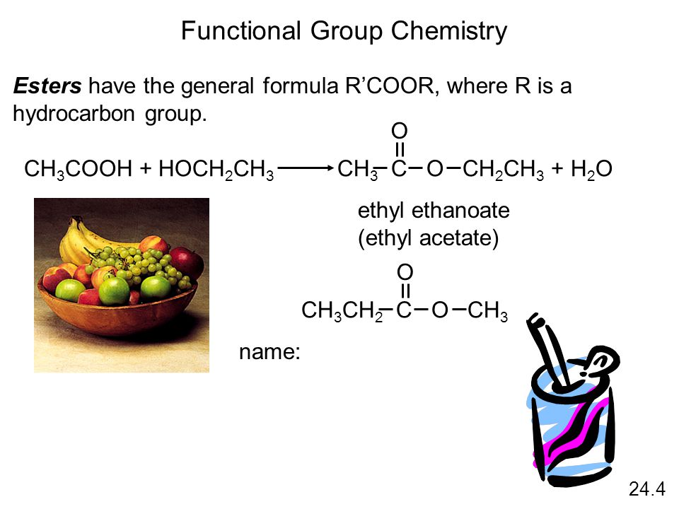 24.4 Functional Group Chemistry Esters have the general formula R'COOR, where R is a hydrocarbon group.