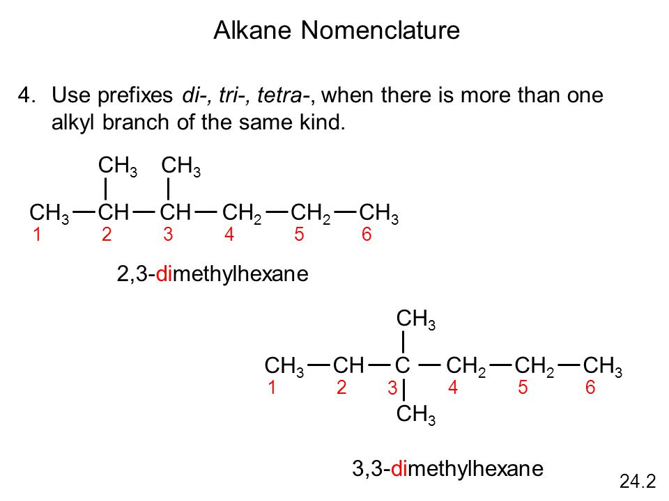 24.2 Alkane Nomenclature 4.Use prefixes di-, tri-, tetra-, when there is more than one alkyl branch of the same kind.