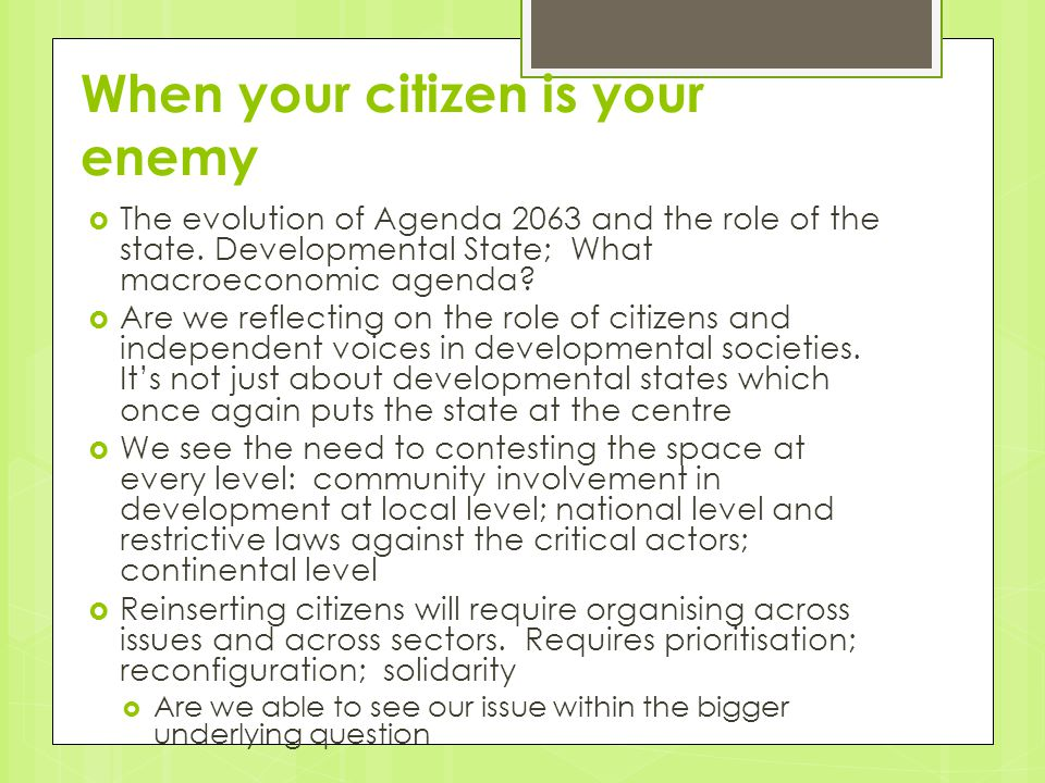 When your citizen is your enemy  The evolution of Agenda 2063 and the role of the state.