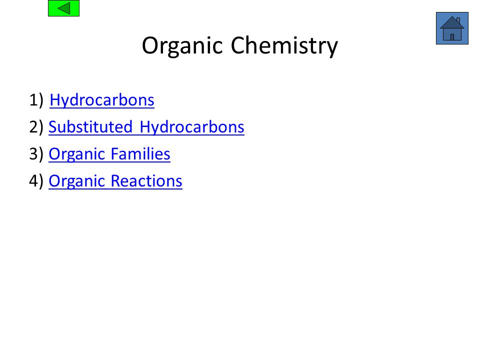 Organic Chemistry 1) Hydrocarbons Hydrocarbons 2) Substituted HydrocarbonsSubstituted Hydrocarbons 3) Organic FamiliesOrganic Families 4) Organic Reac