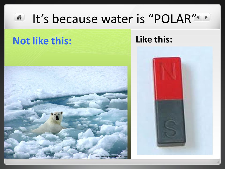 Not like this: Like this: It's because water is POLAR