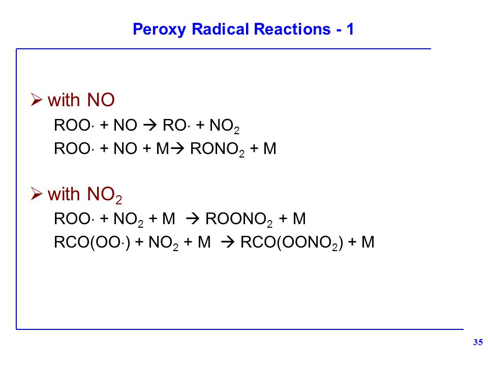 Peroxy Radical Reactions - 1  with NO ROO  + NO  RO  + NO 2 ROO  + NO + M  RONO 2 + M  with NO 2 ROO  + NO 2 + M  ROONO 2 + M RCO(OO  ) + NO 2 + M  RCO(OONO 2 ) + M 35