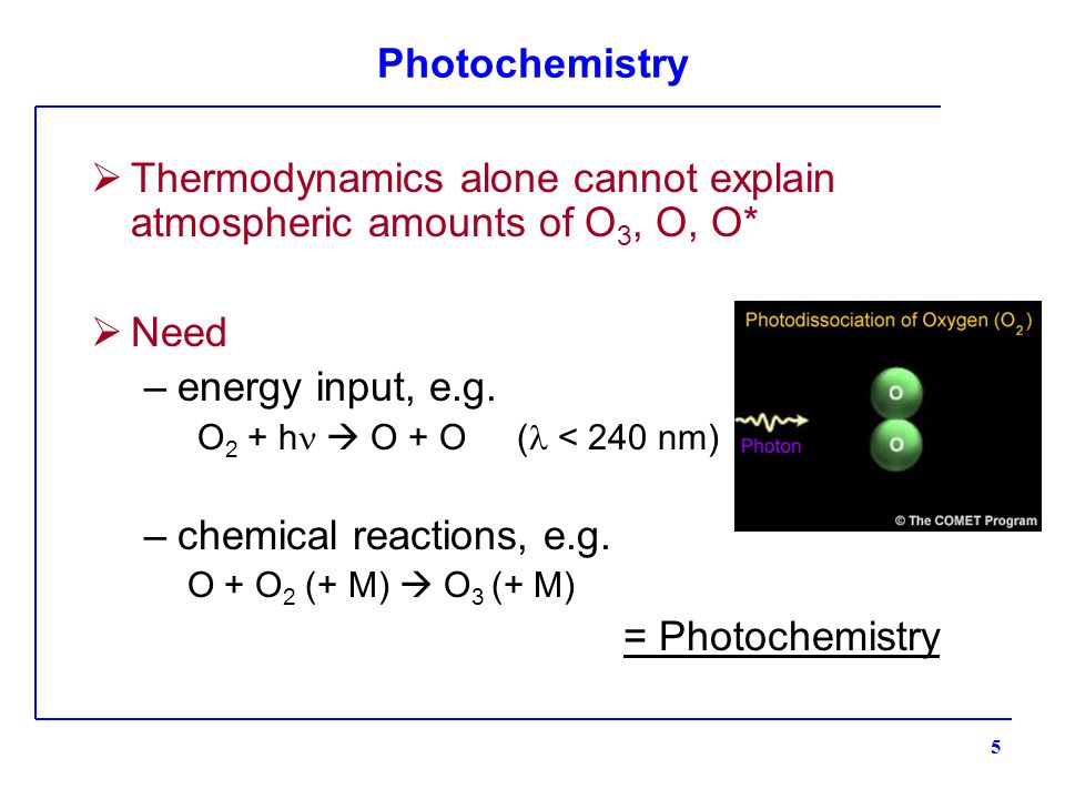 Photochemistry  Thermodynamics alone cannot explain atmospheric amounts of O 3, O, O*  Need –energy input, e.g.