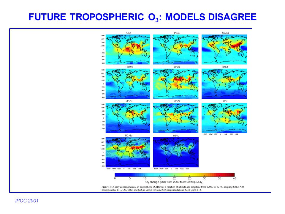 FUTURE TROPOSPHERIC O 3 : MODELS DISAGREE IPCC 2001