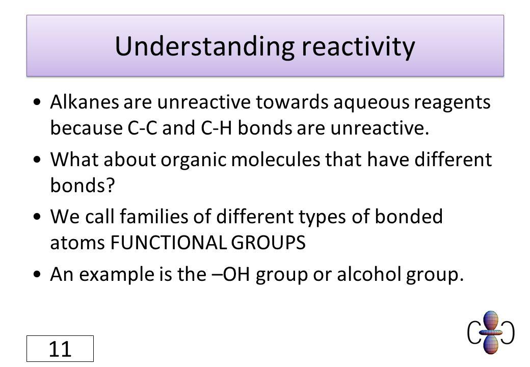 Understanding reactivity Alkanes are unreactive towards aqueous reagents because C-C and C-H bonds are unreactive.