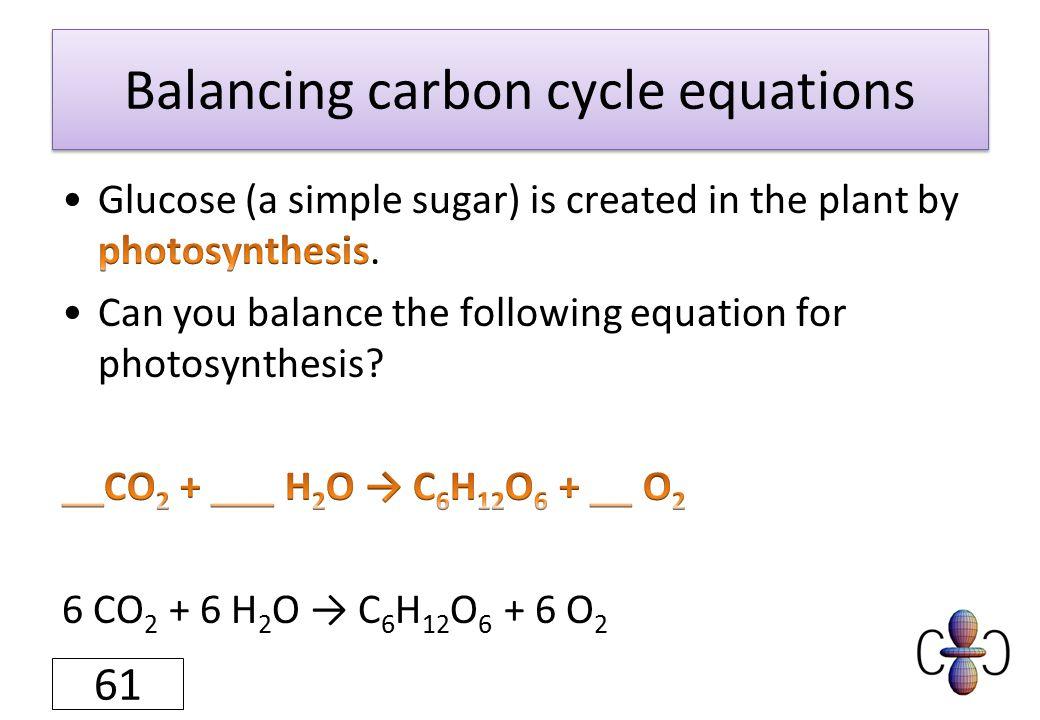 Balancing carbon cycle equations 61