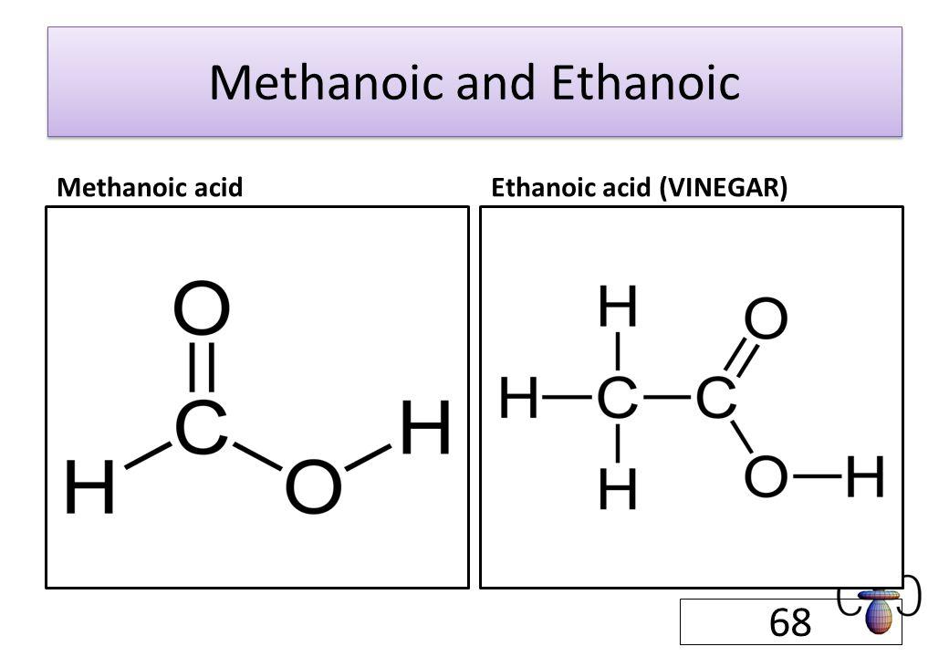 Methanoic and Ethanoic Methanoic acidEthanoic acid (VINEGAR) 68