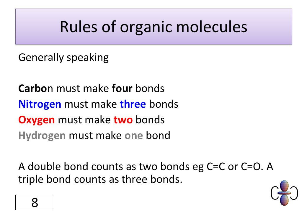 Rules of organic molecules Generally speaking Carbon must make four bonds Nitrogen must make three bonds Oxygen must make two bonds Hydrogen must make one bond A double bond counts as two bonds eg C=C or C=O.