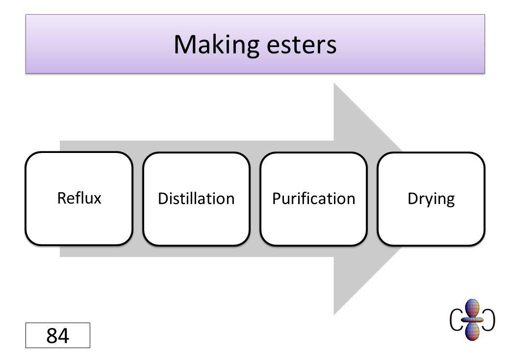 Making esters RefluxDistillationPurificationDrying 84