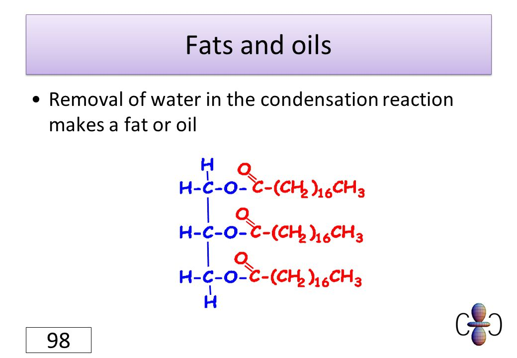 Fats and oils Removal of water in the condensation reaction makes a fat or oil 98