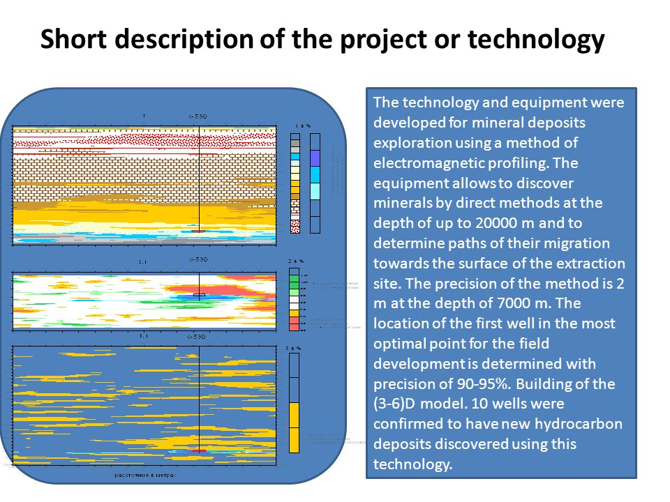 Short description of the project or technology Photo / drawing/ illustration The technology and equipment were developed for mineral deposits exploration using a method of electromagnetic profiling.