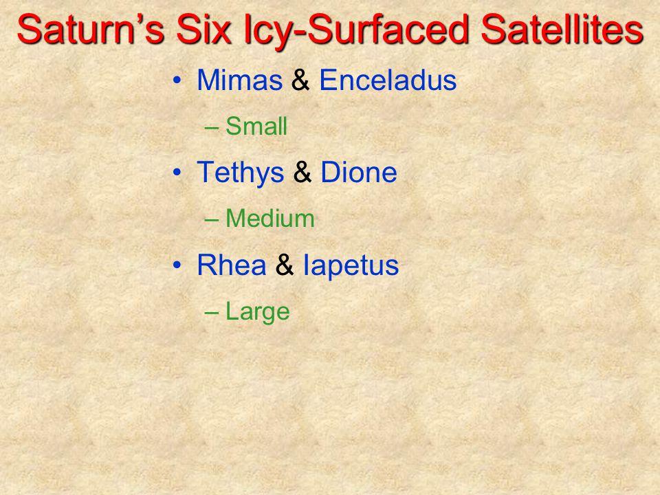 Saturn's Six Icy-Surfaced Satellites Mimas & Enceladus –Small Tethys & Dione –Medium Rhea & Iapetus –Large