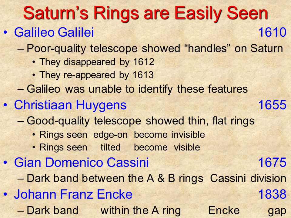 Saturn's Rings are Easily Seen Galileo Galilei1610 –Poor-quality telescope showed handles on Saturn They disappeared by 1612 They re-appeared by 1613 –Galileo was unable to identify these features Christiaan Huygens1655 –Good-quality telescope showed thin, flat rings Rings seenedge-onbecome invisible Rings seentiltedbecome visible Gian Domenico Cassini1675 –Dark band between the A & B ringsCassini division Johann Franz Encke1838 –Dark band within the A ringEncke gap