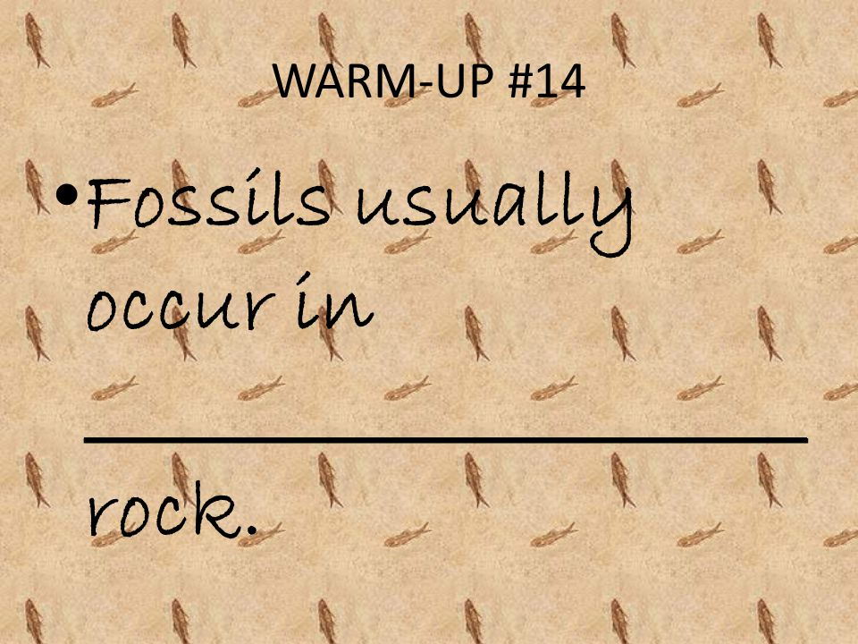 WARM-UP #14 Fossils usually occur in _____________________ rock.