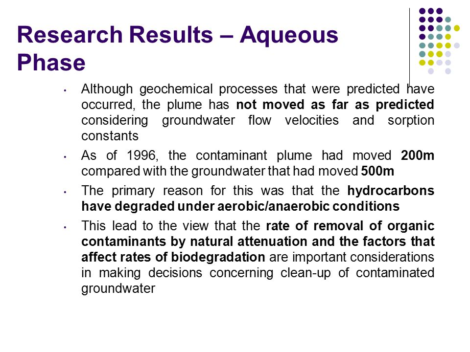 Research Results – Aqueous Phase Although geochemical processes that were predicted have occurred, the plume has not moved as far as predicted conside