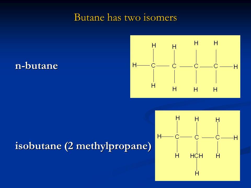Butane has two isomers n-butane isobutane (2 methylpropane)