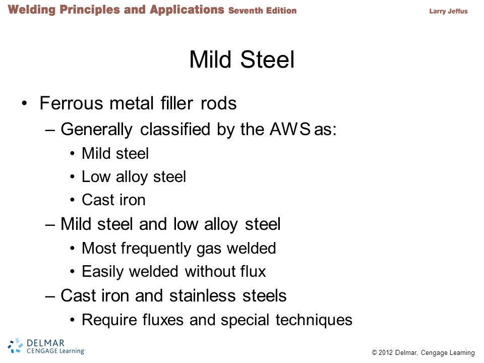 © 2012 Delmar, Cengage Learning Mild Steel Ferrous metal filler rods –Generally classified by the AWS as: Mild steel Low alloy steel Cast iron –Mild steel and low alloy steel Most frequently gas welded Easily welded without flux –Cast iron and stainless steels Require fluxes and special techniques