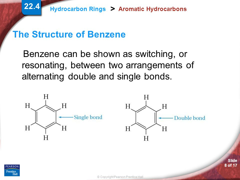 Slide 8 of 17 © Copyright Pearson Prentice Hall 22.4 Hydrocarbon Rings > Aromatic Hydrocarbons The Structure of Benzene Benzene can be shown as switch