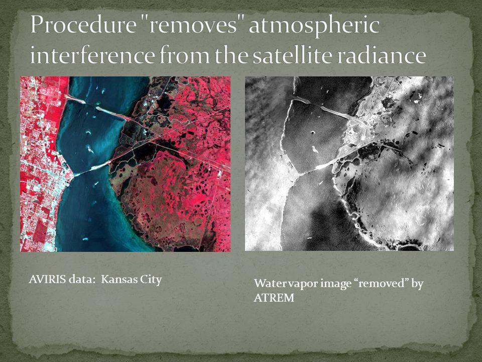 "AVIRIS data: Kansas City Water vapor image ""removed"" by ATREM"