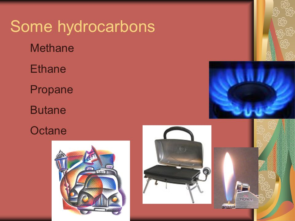 Some hydrocarbons Methane Ethane Propane Butane Octane