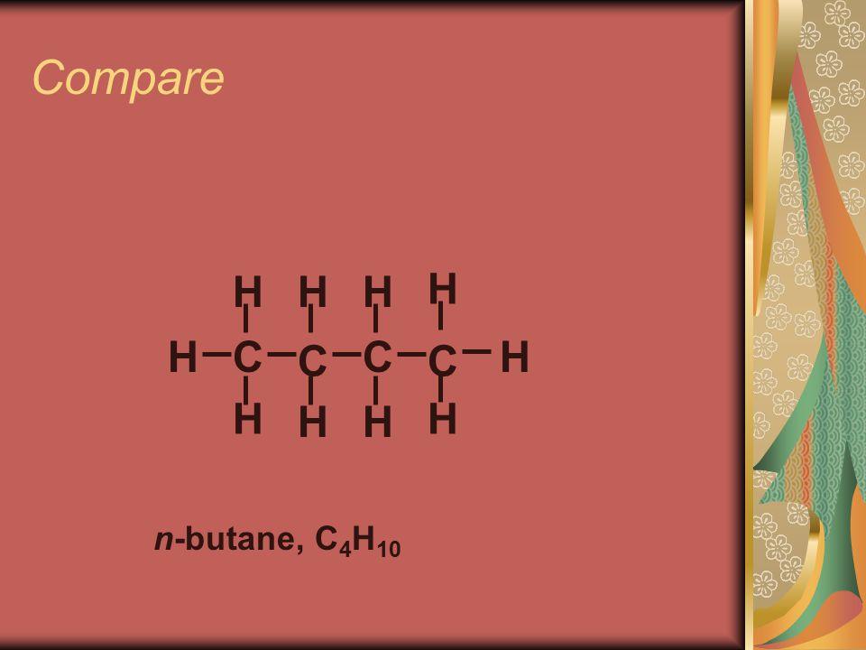 Compare C C H H H n-butane, C 4 H 10 H H C H H C H H H