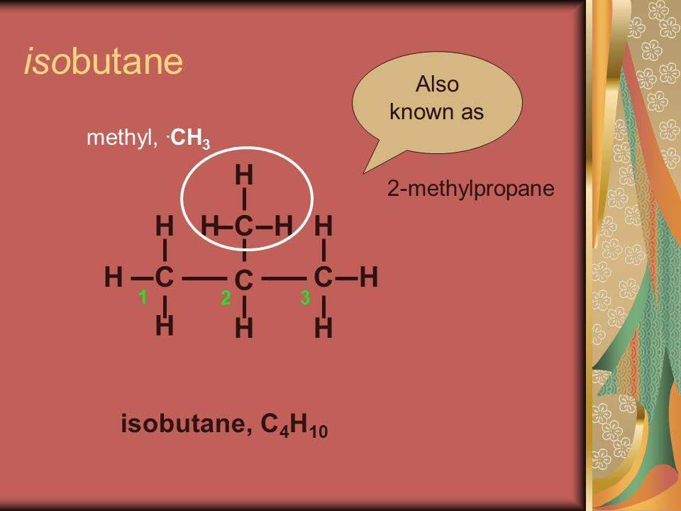 isobutane C C H H H isobutane, C 4 H 10 H C C H H H H HH Also known as 2-methylpropane 1 23 methyl,.