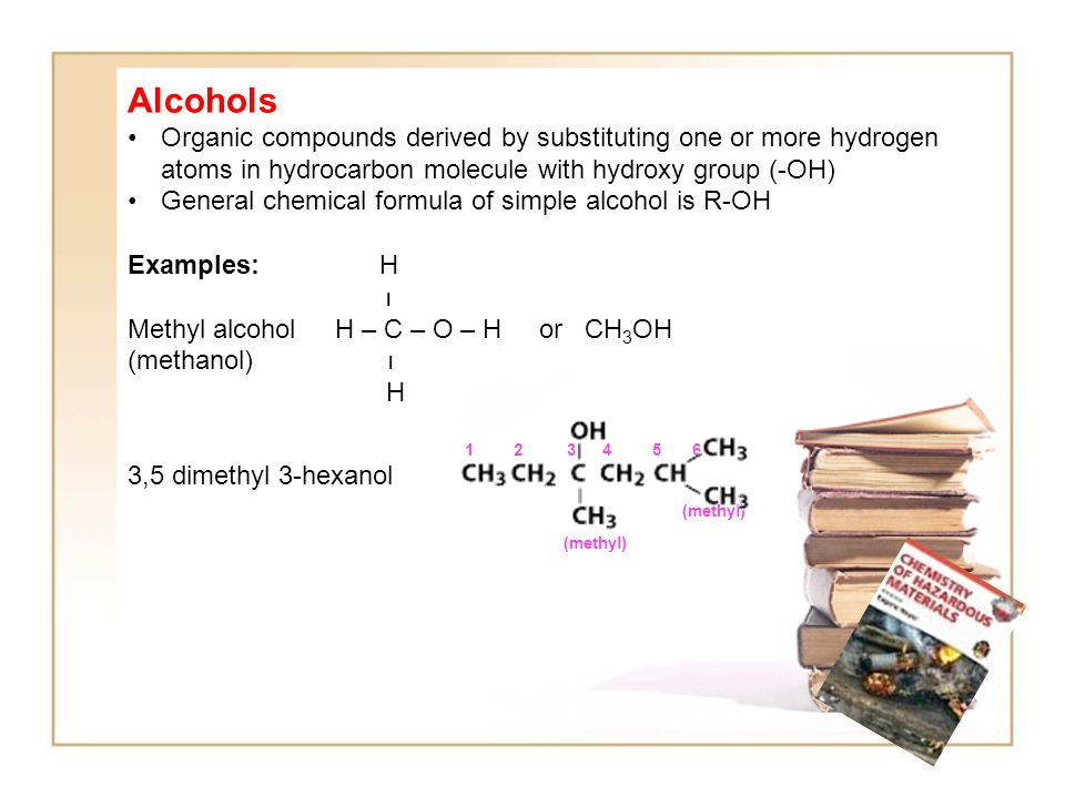 Alcohols Organic compounds derived by substituting one or more hydrogen atoms in hydrocarbon molecule with hydroxy group (-OH) General chemical formula of simple alcohol is R-OH Examples: H I Methyl alcohol H – C – O – H or CH 3 OH (methanol) I H 1 2 3 4 5 6 3,5 dimethyl 3-hexanol (methyl)