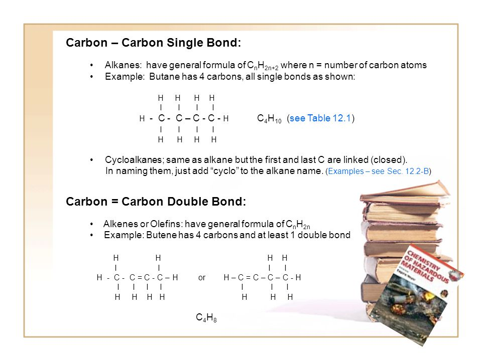 Carbon – Carbon Single Bond: Alkanes: have general formula of C n H 2n+2 where n = number of carbon atoms Example: Butane has 4 carbons, all single bonds as shown: H H H H I I I I H - C - C – C - C - H C 4 H 10 (see Table 12.1) I I I I H H H H Cycloalkanes; same as alkane but the first and last C are linked (closed).