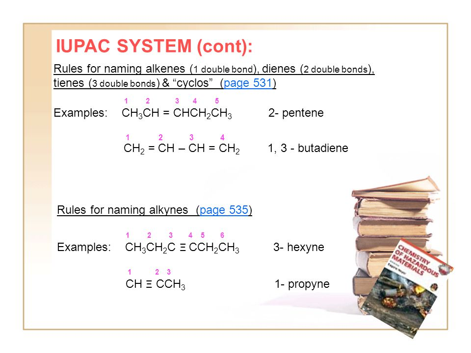 IUPAC SYSTEM (cont): Rules for naming alkenes ( 1 double bond ), dienes ( 2 double bonds ), tienes ( 3 double bonds ) & cyclos (page 531) 1 2 3 4 5 Examples: CH 3 CH = CHCH 2 CH 3 2- pentene 1 2 3 4 CH 2 = CH – CH = CH 2 1, 3 - butadiene Rules for naming alkynes (page 535) 1 2 3 4 5 6 Examples: CH 3 CH 2 C Ξ CCH 2 CH 3 3- hexyne 1 2 3 CH Ξ CCH 3 1- propyne