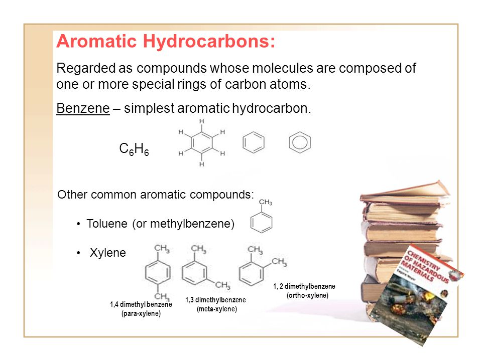 Aromatic Hydrocarbons: Regarded as compounds whose molecules are composed of one or more special rings of carbon atoms.